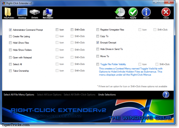 right click context menu extender screenshot