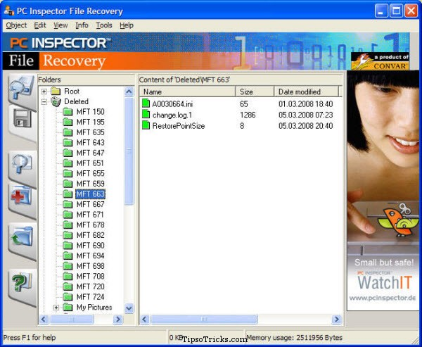 PC Inspector file recovery screenshot