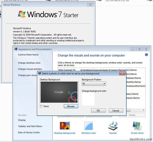 personalization panel windows 7 starter home basic