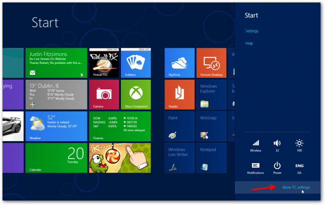 Windows 8 PC settings