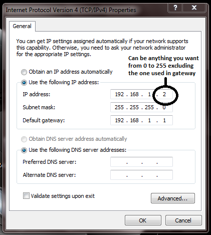 Set up local IP address