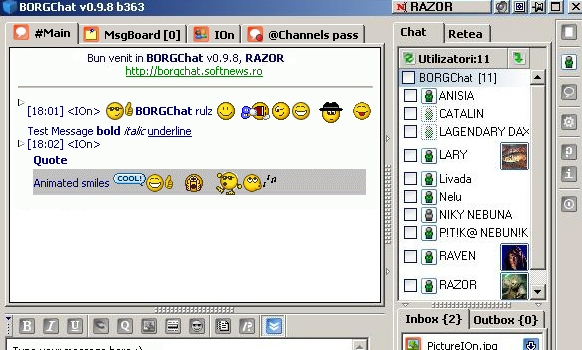 BORGChat free wifi chat software