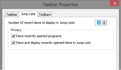 Windows 8 jumplists