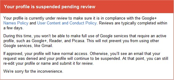 Google suspending review