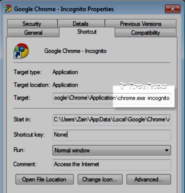 Google Chrome Shortcut Properties