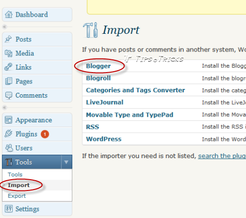 Importing Blogger blog posts into wordpress