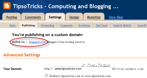 How to set blogger blog to default free domain