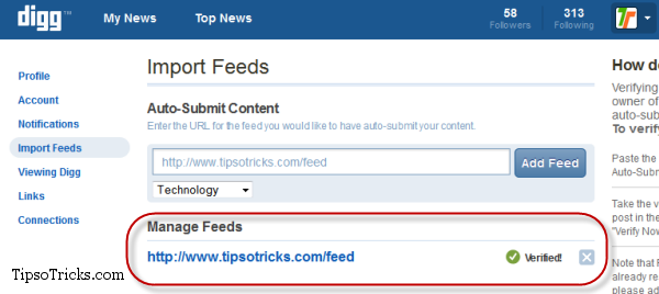 How to import and Verify feed in Digg