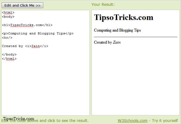 w3cschools tryit editor