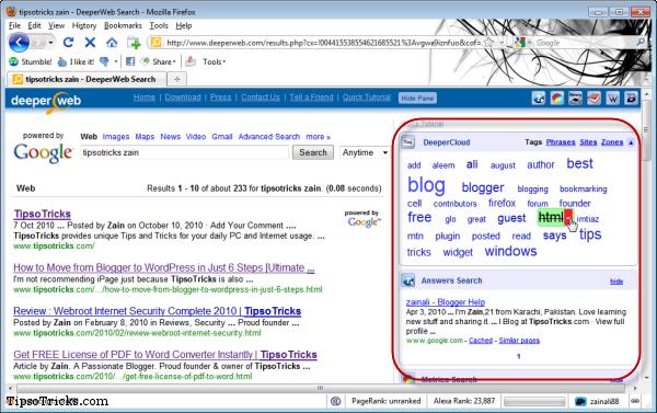deeperweb google customized search