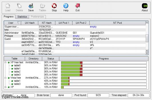ophcrack screenshot