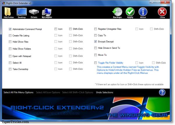 right click context menu extender screenshot