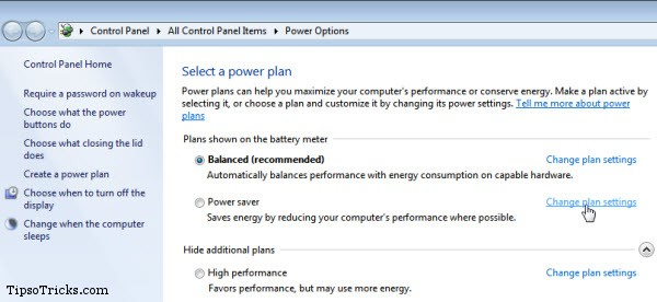 power options in windows 7