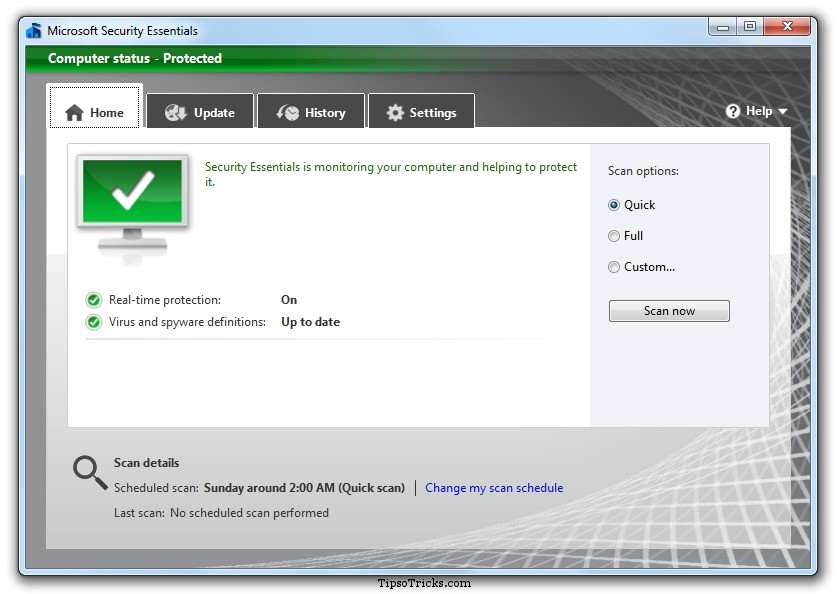 Microsoft Security Essentials 2 Screenshot