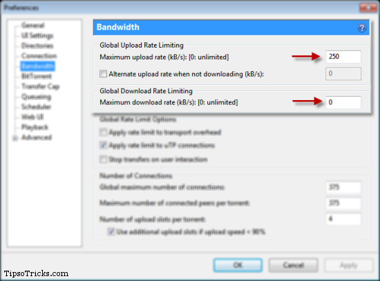 uTorrent Bandwidth Settings