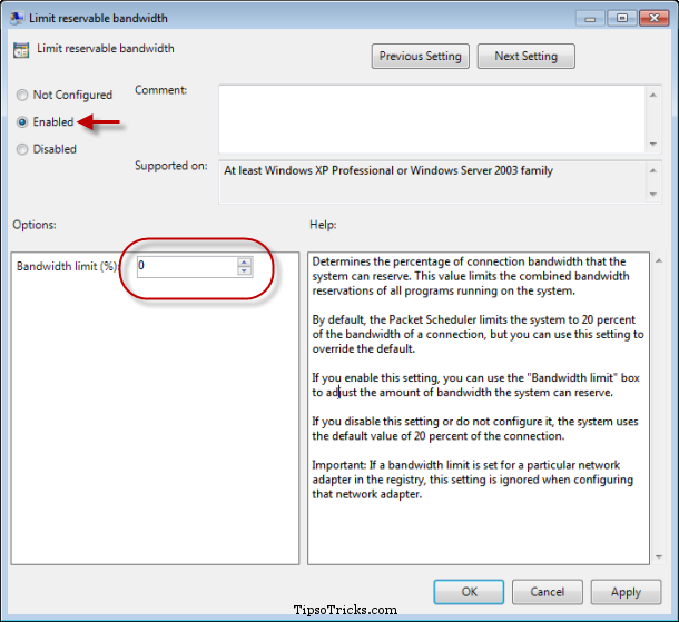Disabling Reserved Bandwidth in Windows