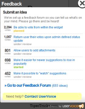 Uservoice feedback widget