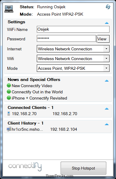 Connectify screenshot