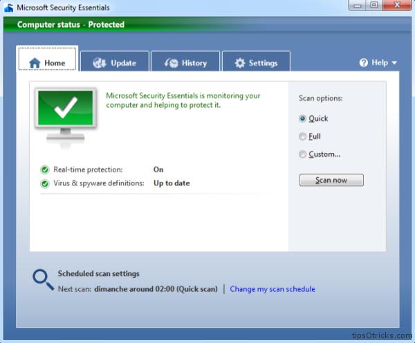 Microsoft Security Essentials 2 screenshot