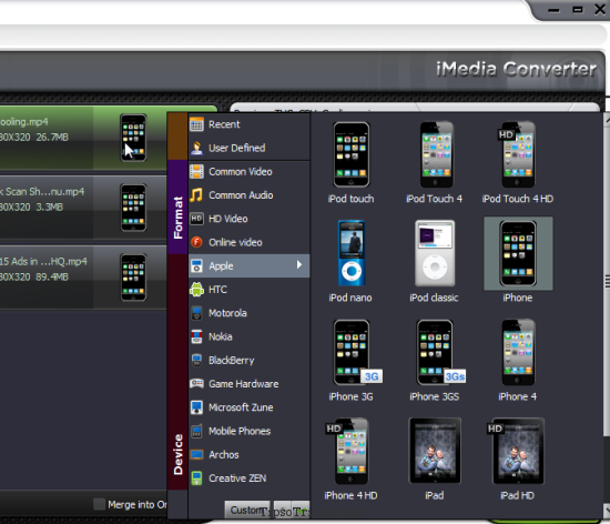 iMedia Converter Video Formats