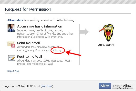 How to hide email address when using a facebook application