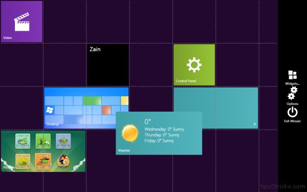 Mosaic Windows 8 Tiles Widgets