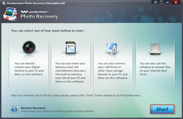 Wondershare Photo Recovery - main interface