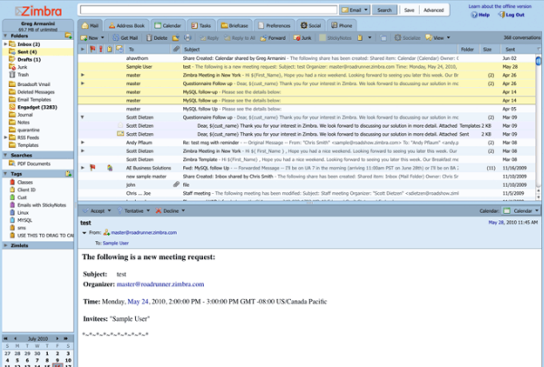 Zimbra Collaboration screenshot