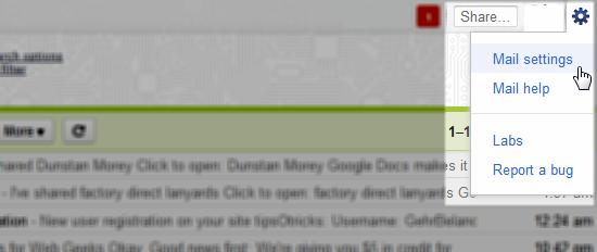 gmail settings shortcut