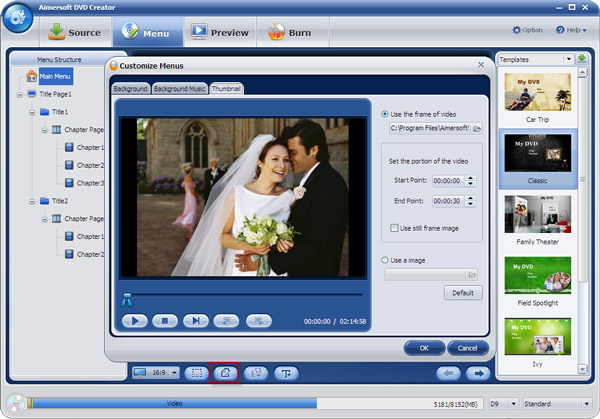 Aimersoft DVD Creator custom menu