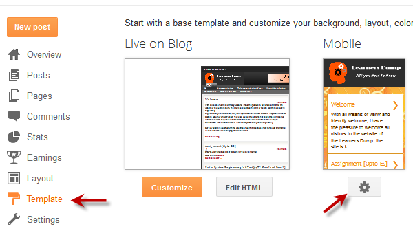 blogger blog mobile template