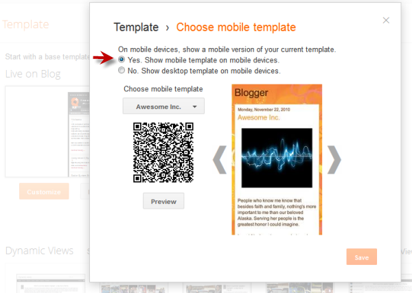 enable mobile template on blogger blog