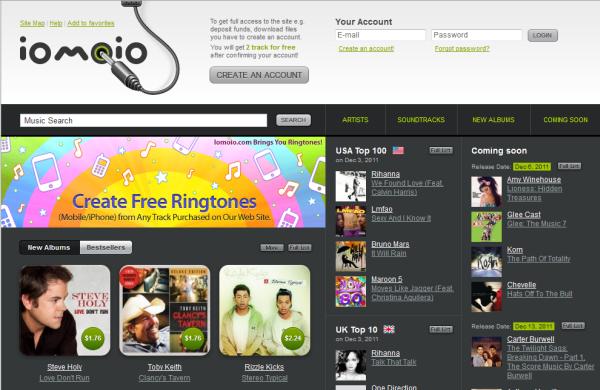 Iomoio mp3 download site screenshot