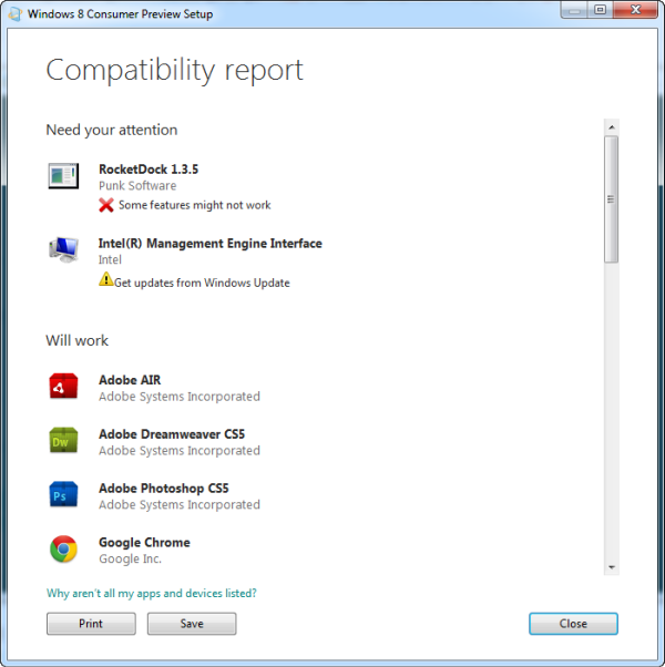 Windows 8 compatibility tool report