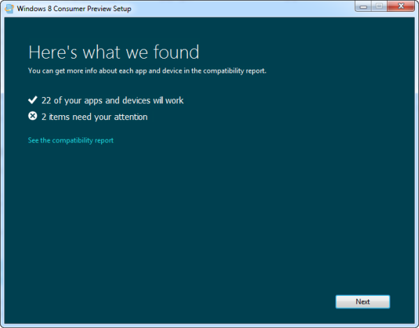 Windows 8 system compatibility tool
