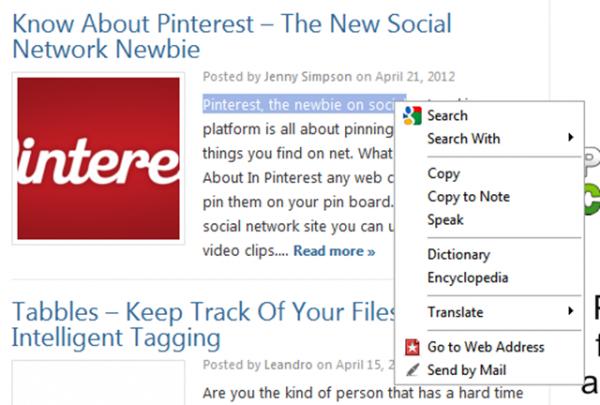 Opera right click menu