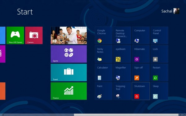 Windows 8 power shortcuts on start screen