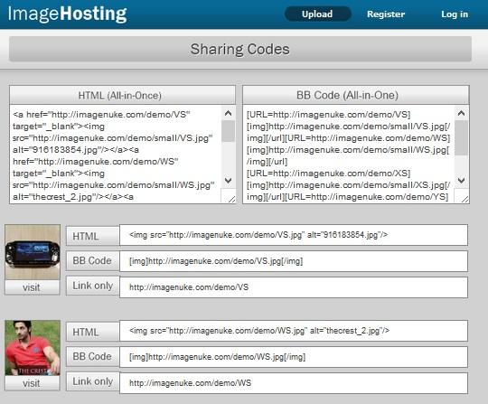 Imageshack sharing codes