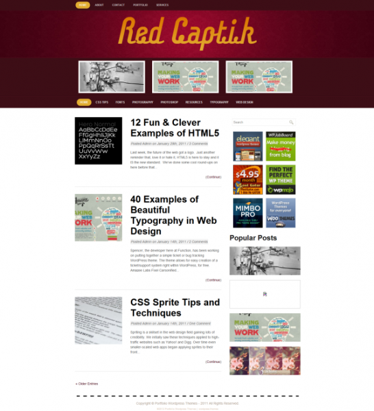 red-captik free wordpress theme