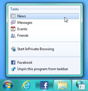 Realtime Facebook Notifications on Taskbar