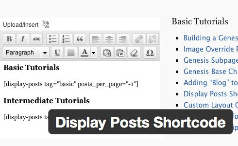 Display Posts Shortcode wordpress plugin