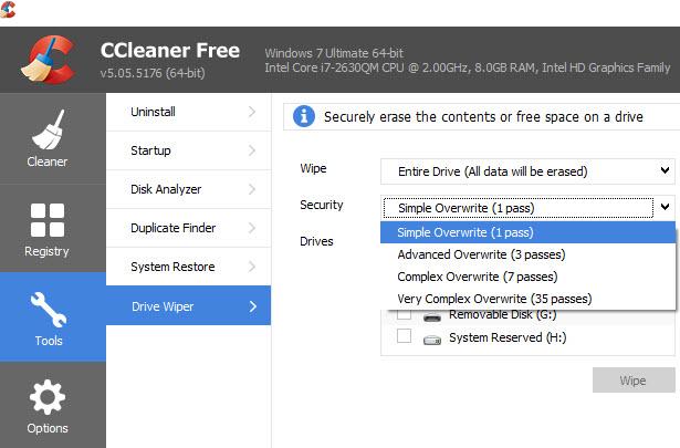 CCleaner-Drive Wiper