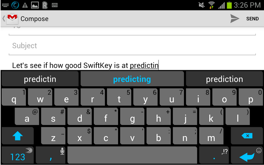 smartphone typing prediction