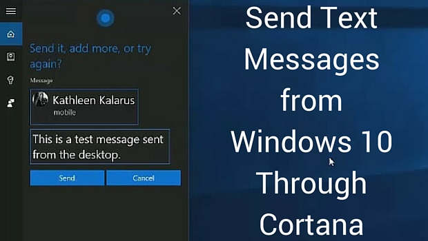 Send Text Messages from Windows 10 Through Cortana