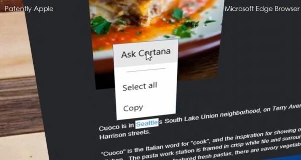 microsoft edge browser cortana support
