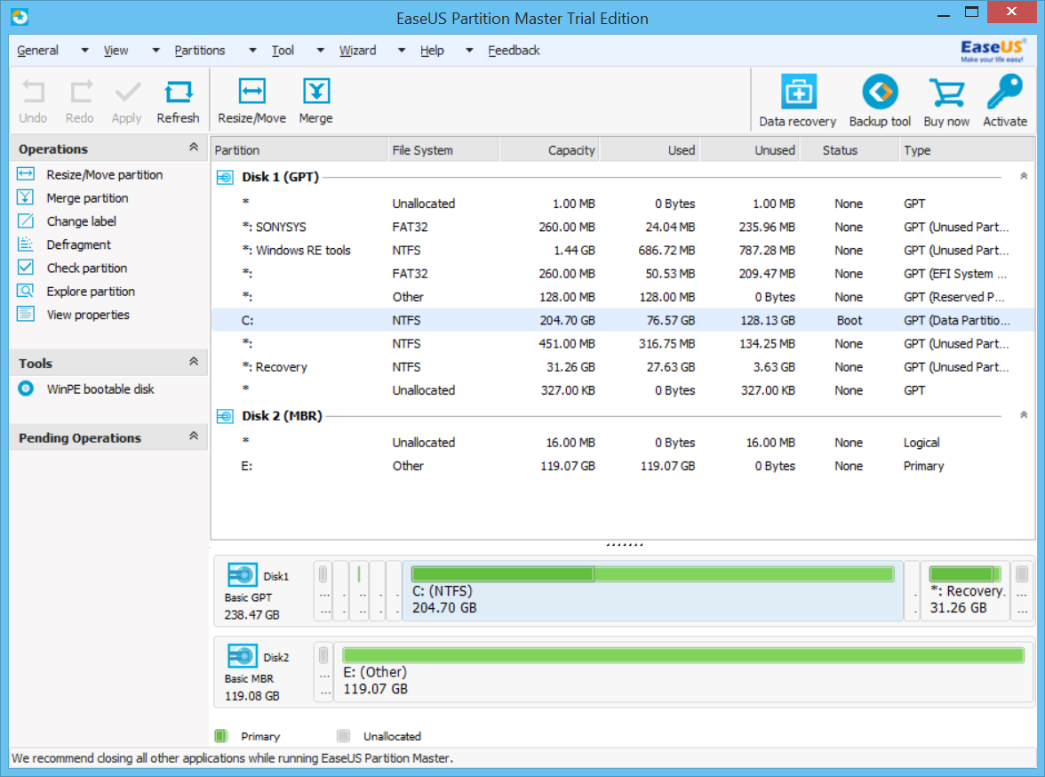 easeus partition manager old versions