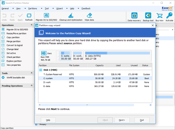 EaseUS Partition Copy